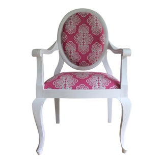 White Oval Back Louis XIV Style Arm Chair For Sale