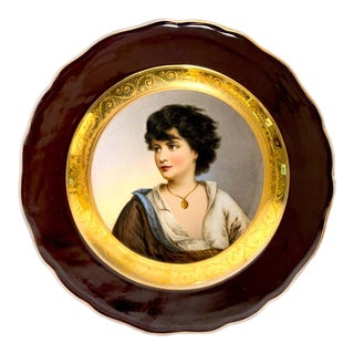 19th Century Meissen Portrait Plate of Young Girl With Necklace For Sale