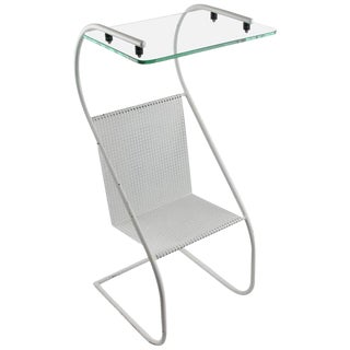 Mathieu Mategot Style 1950s Modern White Metal Side Table and Magazine Rack For Sale