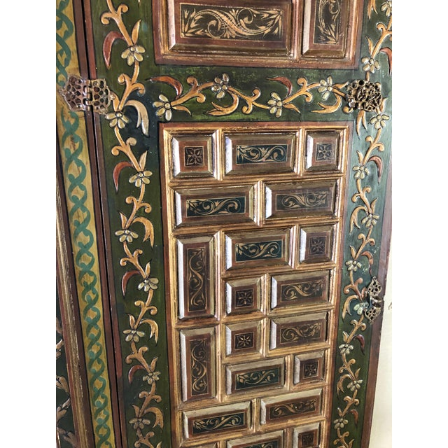 1940s Vintage Hand-Painted Ottoman Style Wood Panel / Door For Sale - Image 4 of 10