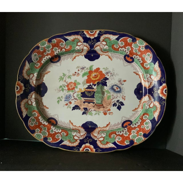Antique Ironstone China Hand Painted Platter For Sale - Image 9 of 9