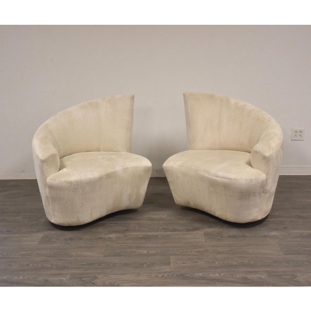 White Vladimir Kagan Bilbao Lounge Chairs- a Pair For Sale - Image 8 of 8