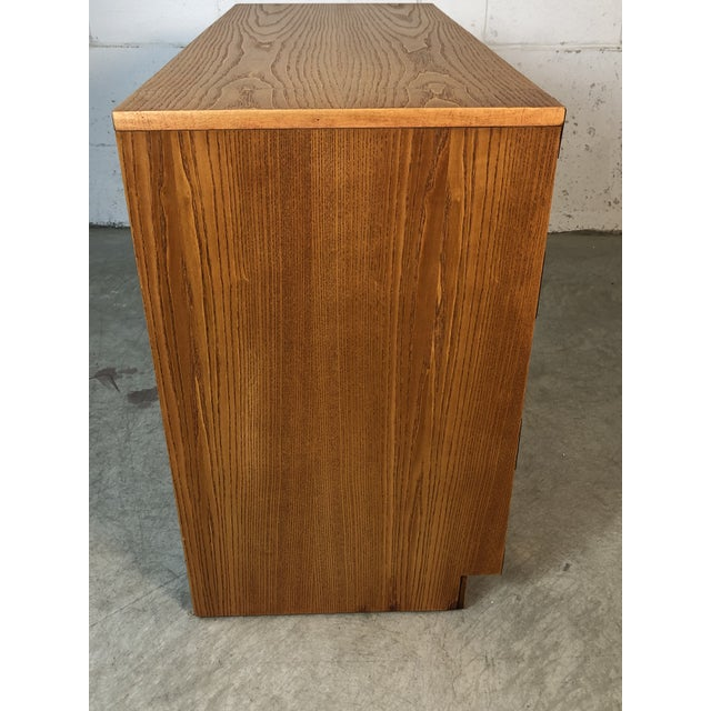 Gold 1970s Dixie Oak Wood Campaign & Bamboo Style Desk For Sale - Image 8 of 10