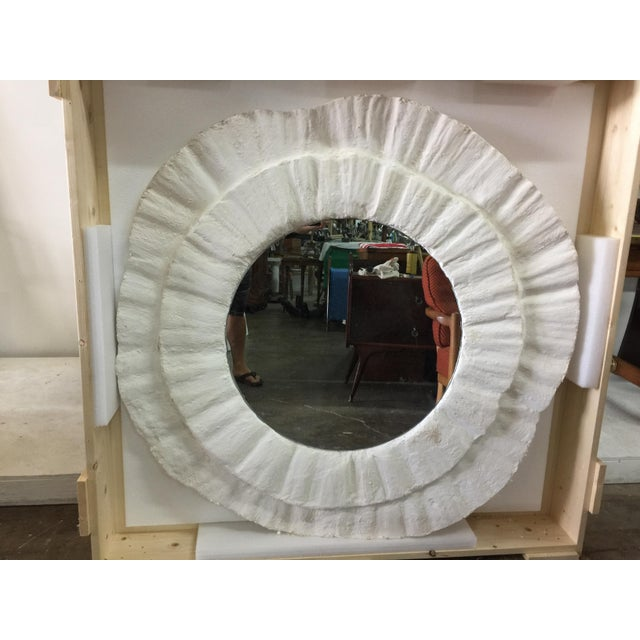 French Plaster Wavy Round Wall Mirror For Sale In Miami - Image 6 of 6