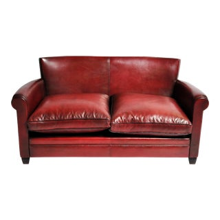 Grand Parisian Style Red Leather Sofa For Sale