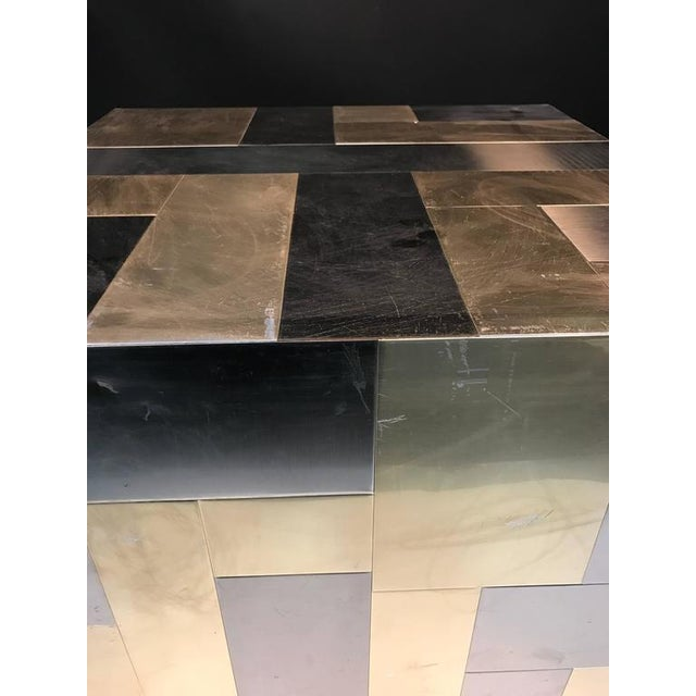 Brass UNUSUAL CUBE-SHAPED BRASS AND CHROME PATCHWORK TABLE BY PAUL EVANS For Sale - Image 7 of 9