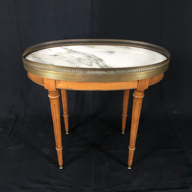 Brown French Louis XVI Style Oval Oak Marble Topped Side Table For Sale - Image 8 of 8