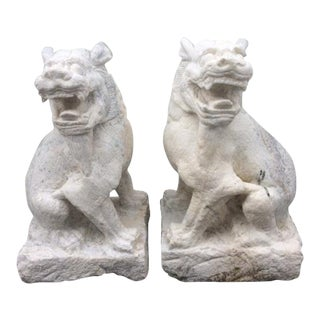 Hand Carved White Granite Foo Dogs - A Pair For Sale
