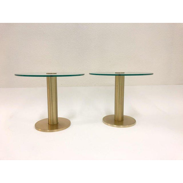 Pace Collection Pace Collection Satin Brass and Glass Side Tables - a Pair For Sale - Image 4 of 7