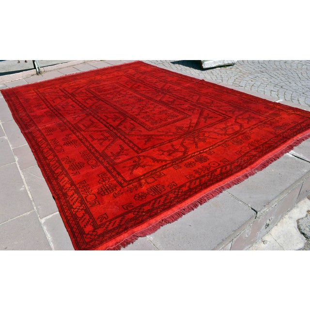Turkish Hand-Knotted Red Overdyed Rug - 8′5″ X 11′8″ For Sale - Image 4 of 9