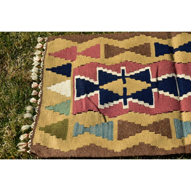 Nomadic Tribal Design Anatolian Oushak Traditional Wool Handmade Turkish Kilim Rug For Sale In Sacramento - Image 6 of 10