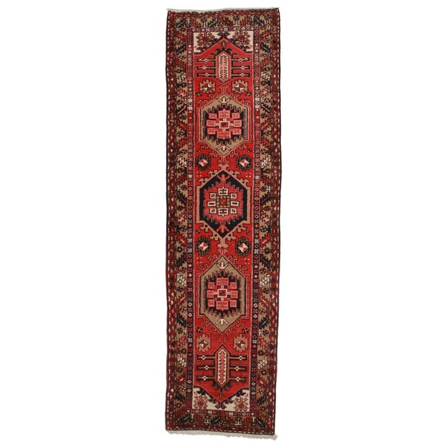 Antique Persian Gharajeh Wool Runner- 3′ × 11′2″ For Sale