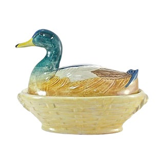 Italian Hand Painted Ceramic Duck Box For Sale