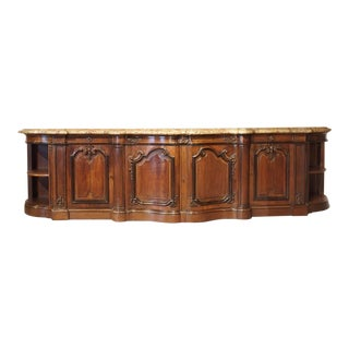 Massive Marble Topped Walnut Wood Louis XV Style Chateau Buffet For Sale