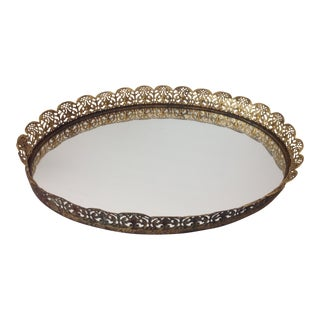1950's Mid-Century Vintage Gold Tone Filigree Oval Vanity Mirror Tray For Sale