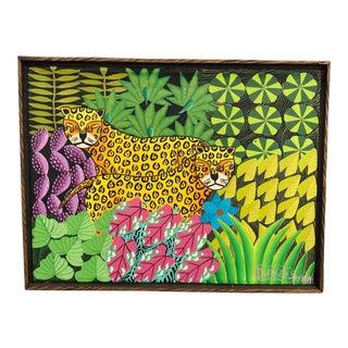 20th Century Haitian Folk Art Painting of Leopards in a Jungle by Daniel Souvenir For Sale