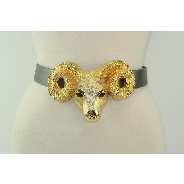 1990s 1993 Margarita Barrera Gold Metal Ram Buckle Belt For Sale - Image 5 of 13