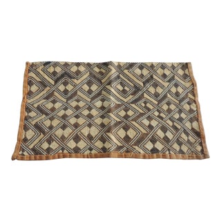 Vintage Handwoven Camel and Brown African Tribal Textile Fragment For Sale