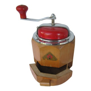 Vintage Wood De Ve Coffee Grinder For Sale
