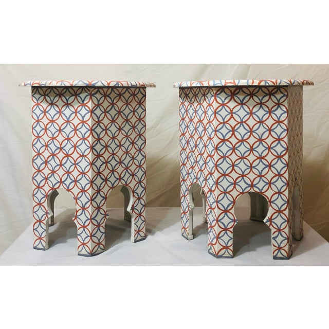 This stylish pair of white , Blue and Orange handmade side or end tables have beautiful arched base and features a modern...