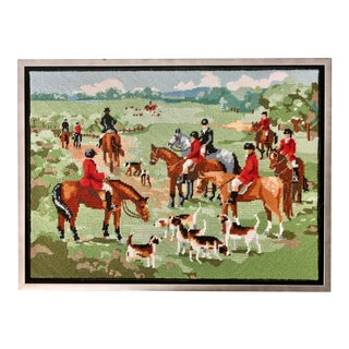 Equestrian Fox Hunt Needlepoint Textile Art For Sale