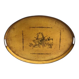 French Painted Mustard and Black Tole Tray For Sale