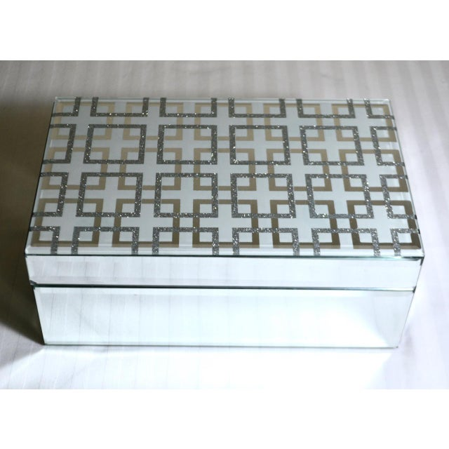 Abstract Mirrored Hinged Grecian Key Patterned Glass Decorative Box