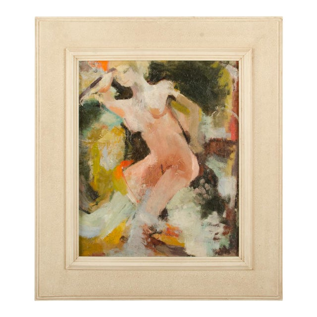 "Mid 20th Century ""Figure in Sea"" Abstract Oil Painting by Belinda Henderson, Framed For Sale"