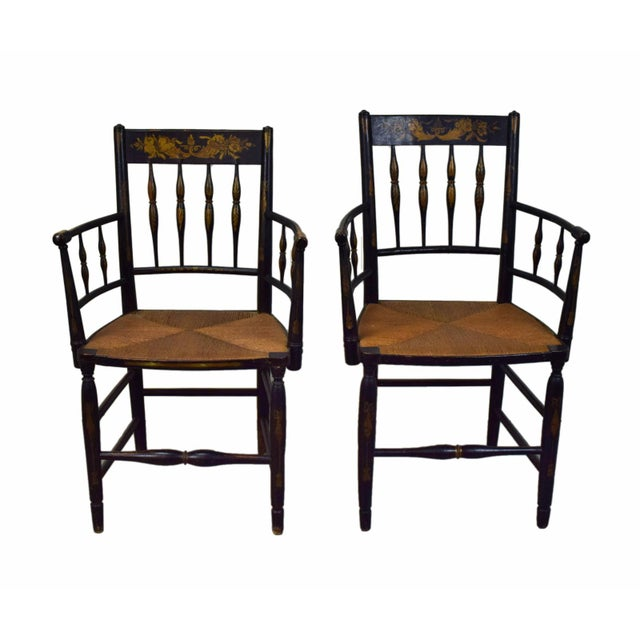 19th Century American Classical Sheraton Fancy Painted Armchairs For Sale - Image 9 of 9