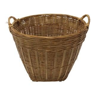 Vintage Deep Round Wicker Basket