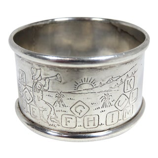 1930s Traditional Childs Alphabet Sterling Silver Napkin Ring For Sale