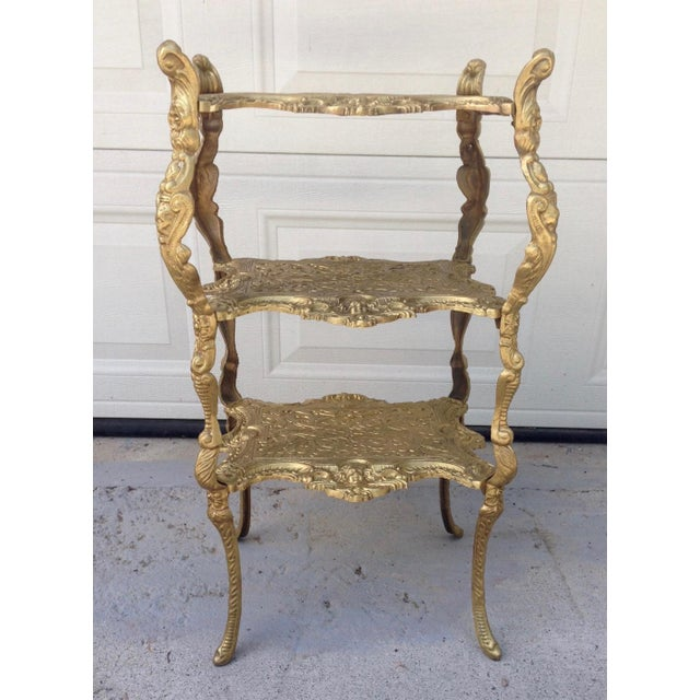 Vintage Hollywood Regency Gold Metal 3 Tier Table For Sale - Image 4 of 7