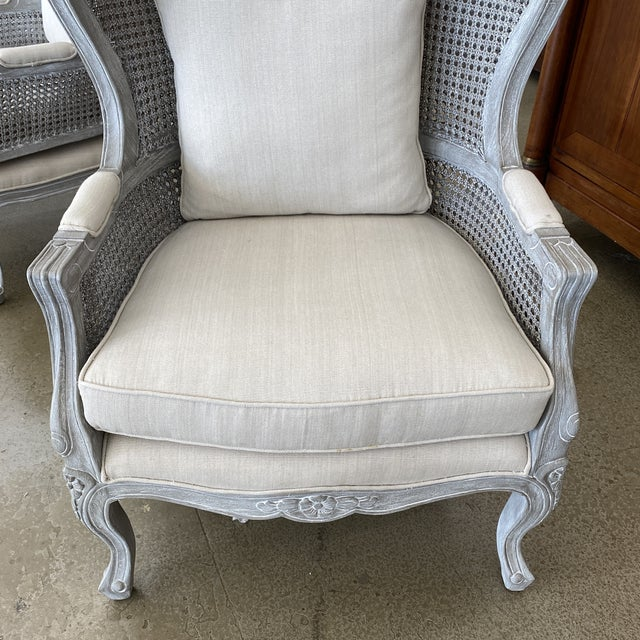 Gray French Balloon Caned Porters Canopy Chairs - a Pair For Sale - Image 8 of 13