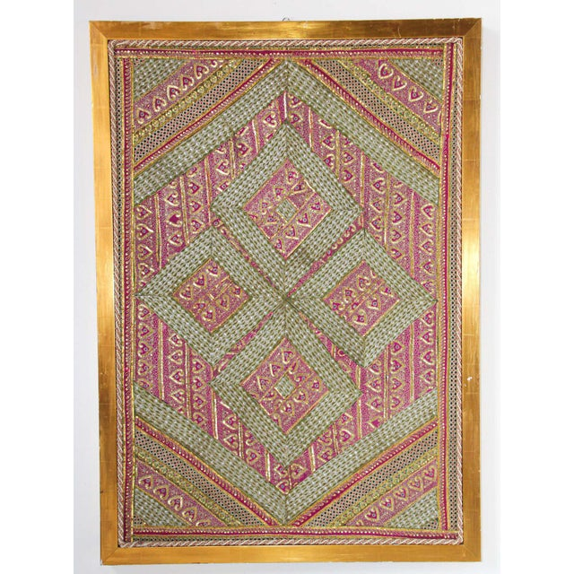 Mughal Style Metal Threaded Tapestry Framed from Rajasthan, India For Sale - Image 12 of 13