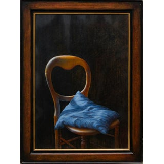 Original Still Life Oil Painting by Guy Gladwell - Chair With a Blue Cushion, 1997 For Sale