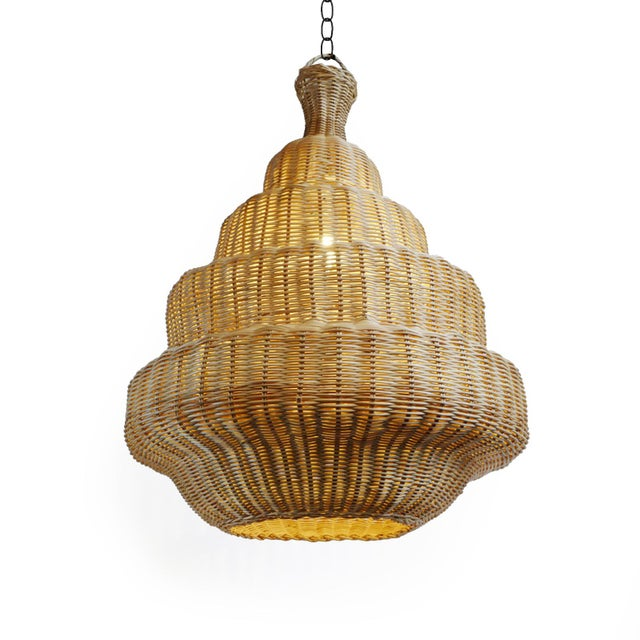 Natural raw rattan Madras lantern with unique step design and shape. For indoor use or if used outdoors rattan will age...