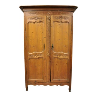 Early 19th Century French Country Provincial Pine Wood Wardrobe Armoire Cabinet For Sale