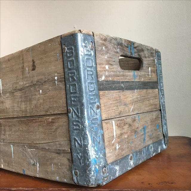 Antique Wooden Borden's NY Milk Crate For Sale - Image 5 of 7
