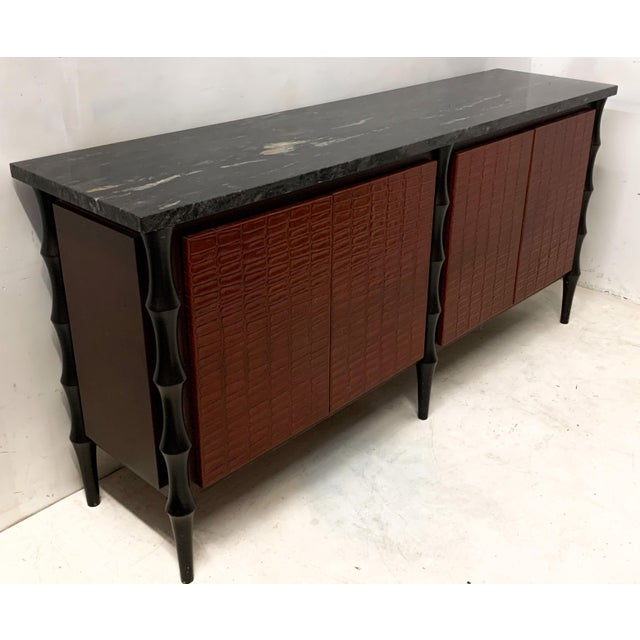Wood Billy Baldwin Style Faux Crocodile Credenza or Sideboard For Sale - Image 7 of 11