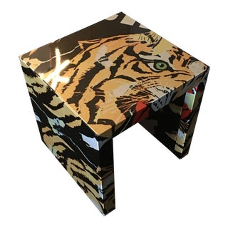 Pop Art Mimmo Rotella Metal Side Table For Sale