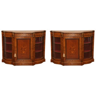 Superb Pair of 19th Century English Inlaid Credenzas For Sale