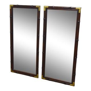Pair of Henredon Pan Asian Mahogany Wall Hanging Mirrors For Sale