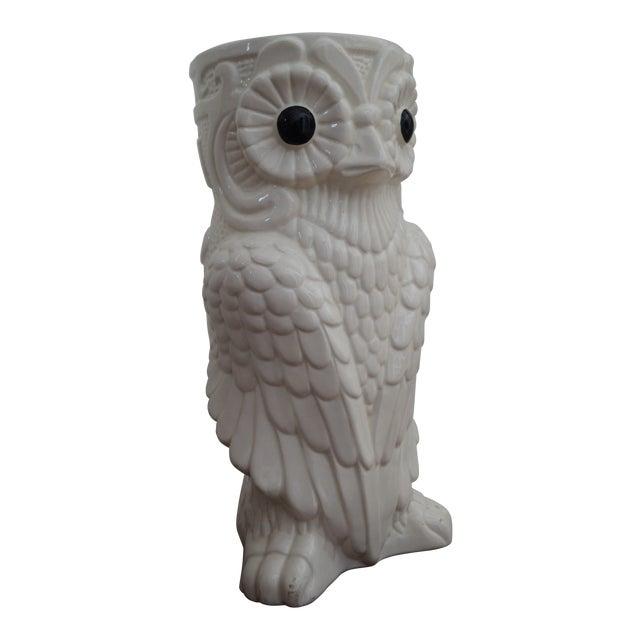 1980s Art Deco White Ceramic Owl Vase - Image 1 of 5