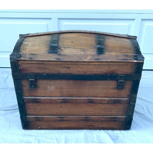1950s 1850's Gothic Rounded Top Wooden Trunk For Sale - Image 5 of 8