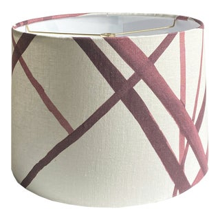 Plum Channels Drum Lamp Shade 14x11 For Sale