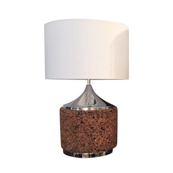 Mid century cork lamp base with shade chairish mid century cork lamp base with shade image 7 of 7 aloadofball Images