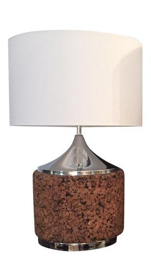 Mid Century Cork Lamp Base With Shade   Image 7 Of 7