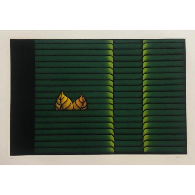 "Kazuhisa Honda Mezzontint ""Two Leaves"" 1980s For Sale - Image 6 of 6"