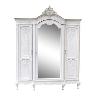 19th Century French Louis XV Painted Armoire For Sale