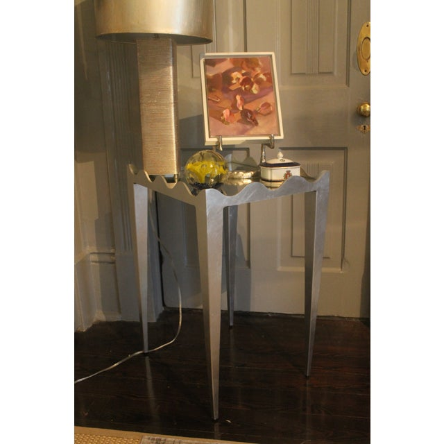 Worlds Away Wave Edge Rectangular Side Table in silver leaf with mirrored top.